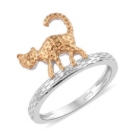 Cat Ring in Platinum and Gold Plated Silver 3.05 Gms