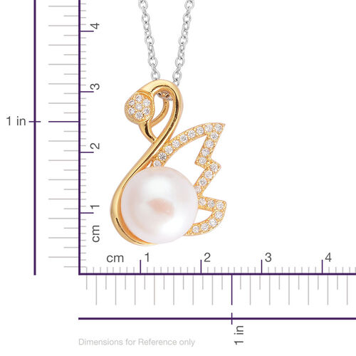 Fresh Water White Pearl and Simulated White Diamond Pendant in Gold Tone with Stainless Steel Chain (Size 20)