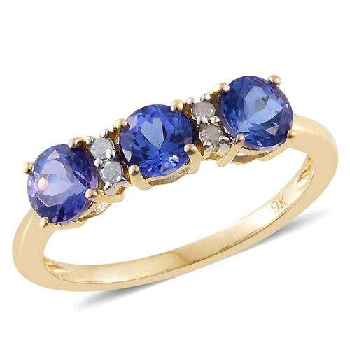 9K Yellow Gold 1.56 Ct AA Tanzanite Ring with Diamond
