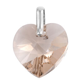 J Francis Crystal from Swarovski - Large Peach Colour Crystal (Hrt 18mm) Pendant in Sterling Silver