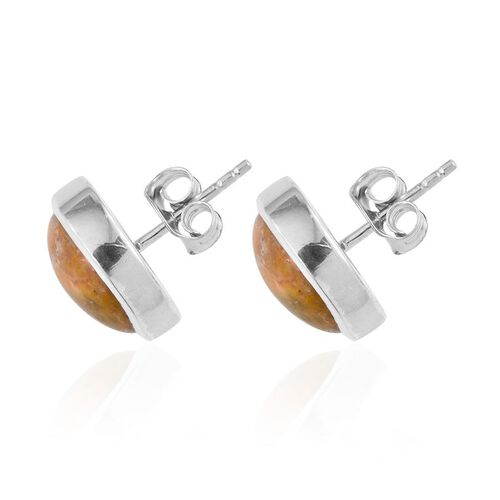 Bumble Bee Jasper (Rnd) Stud Earrings (with Push Back) in Platinum Overlay Sterling Silver 9.250 Ct.