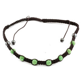Peridot Austrian Crystal and Hematite Adjustable Necklace