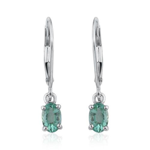 9K W Gold Boyaca Colombian Emerald (Ovl) Lever Back Earrings 1.000 Ct.