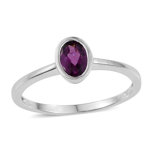 Rare Mozambique Grape Colour Garnet (Ovl) Solitaire Ring in Platinum Overlay Sterling Silver 1.000 Ct.