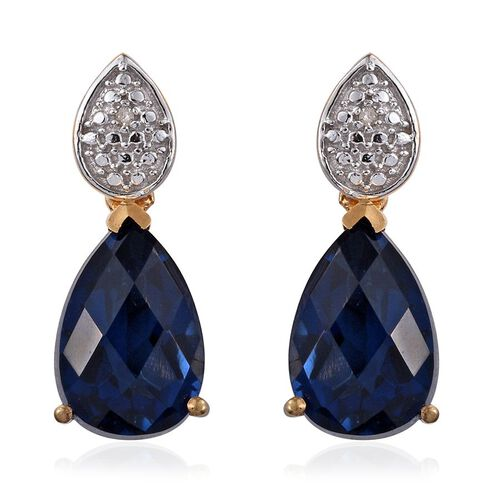 Checkerboard Cut Ceylon Colour Quartz (Pear), Diamond Earrings (with Push Back) in 14K Gold Overlay Sterling Silver 7.510 Ct.