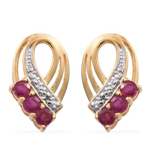 African Ruby (Rnd), Diamond Earrings (with Push Back) in 14K Gold Overlay Sterling Silver 1.000 Ct.