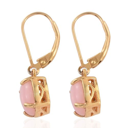 Natural Peruvian Pink Opal (Ovl) Lever Back Earrings in 14K Gold Overlay Sterling Silver 3.000 Ct.