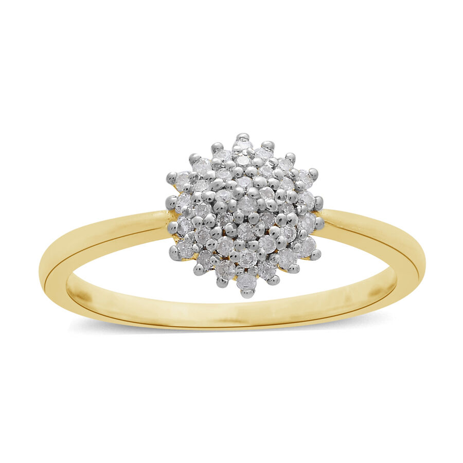 9K Yellow Gold 0.20 Ct Diamond Cluster Ring SGL Certified ...