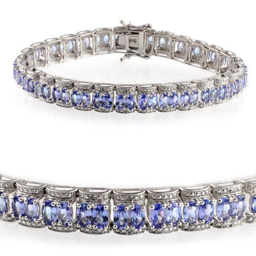 AA Tanzanite (Ovl), Diamond Bracelet in Platinum Overlay Sterling Silver (Size 7.5) 14.020 Ct.