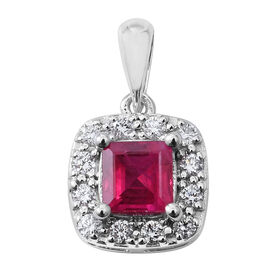 Extremely Rare- RHAPSODY 1 Carat AAAA Princess Cut Burmese Ruby and Diamond (VS/E-F) Pendant in 950 Platinum
