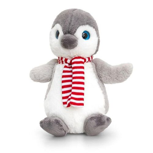 Keel Toys - Grey and White Colour Penguin with Red and White Colour Scarf (Size 20 Cm)
