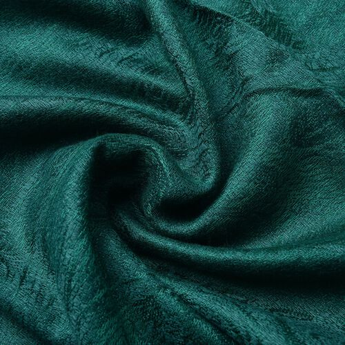 Teal Green Colour Knitted Bandana Pattern Scarf with Tassels (Size 170X70 Cm)