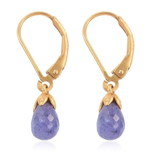 Tanzanite Drop Lever Back Earrings in 14K Gold Overlay Sterling Silver 2.500 Ct.