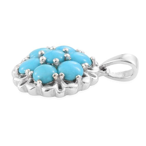 Arizona Sleeping Beauty Turquoise (Rnd) 7 Stone Pendant in Platinum Overlay Sterling Silver 1.500 Ct.