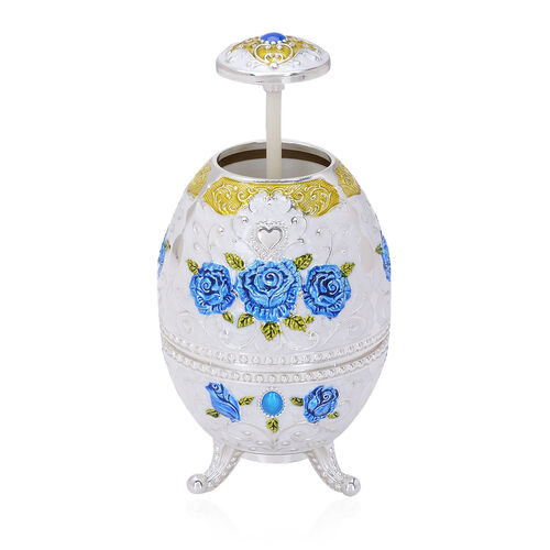 Home Decor - White Colour Enameled Floral and Filigree Pattern Egg Shape Multi Purpose Dispenser with Bottle Opener at Bottom