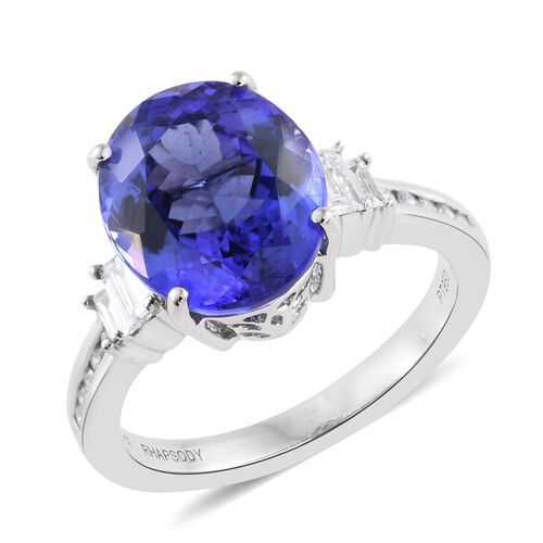RHAPSODY 950 Platinum AAAA Tanzanite (Ovl 6.40 Ct), Diamond (VS/E-F) Ring 6.900 Ct.