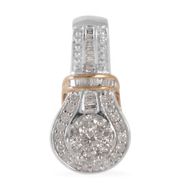 New York Close Out Deal 9K Yellow, White Gold Diamond (Rnd)  (I1- I2 and G-H) Pendant  0.760 Ct.
