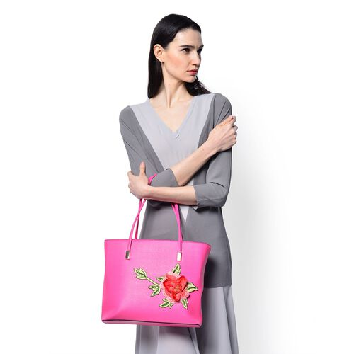 3D Floral Pattern Pink Colour Tote Bag (Size 38x28x8 Cm)
