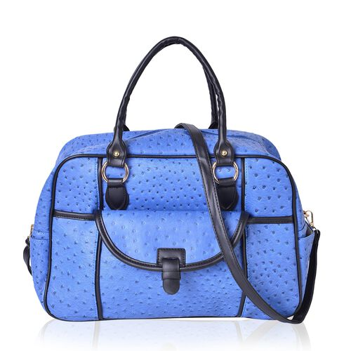 Weekend Bag Blue Ostrich Pattern with External Zipper Pocket and Removable Shoulder Strap (Size 42x26x17 Cm)