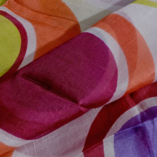 100% Mulberry Silk Off White, Purple and Multi Colour Handscreen Printed Scarf (Size 180x100 Cm)