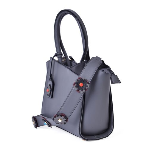 Grey and Black Colour Tote Bag with Multi Colour Floral Charm and Removable Floral Strap (Size 35x27.5x20x11 Cm)