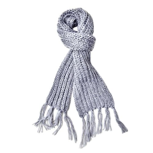 Sequin Embellished Grey Colour Knitted Scarf with Tassels (Size 165X18 Cm) and Hat (Size 30X20 Cm)