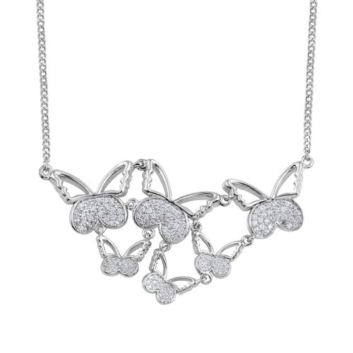 Kimberley Butterfly Collection Natural Cambodian Zircon (Rnd) Butterfly Necklace (Size 18) in Platinum Overlay Sterling Silver