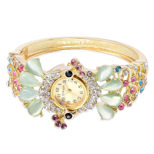 STRADA Japanese Movement Golden Sunshine Dial with Simulated Green Cats Eye and Multi Colour Austrian Crystal Peacock Design Bangle Watch in Yellow Gold Tone with Stainless Steel Back