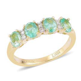 ILIANA 18K Yellow Gold 1.50 Ct AAA Boyaca Colombian Emerald Ring with Diamond (SI/G-H)