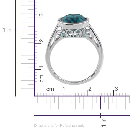 Capri Blue Quartz (Rnd) Solitaire Ring in Platinum Overlay Sterling Silver 4.250 Ct.