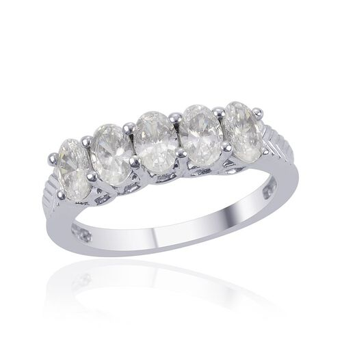 J Francis - Platinum Overlay Sterling Silver (Ovl) 5 Stone Ring Made with SWAROVSKI ZIRCONIA  2.150 Ct.