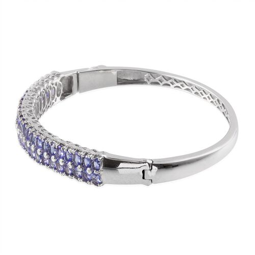 Tanzanite (Ovl), Diamond Bangle (Size 7.5) in Platinum Overlay Sterling Silver 9.020 Ct.