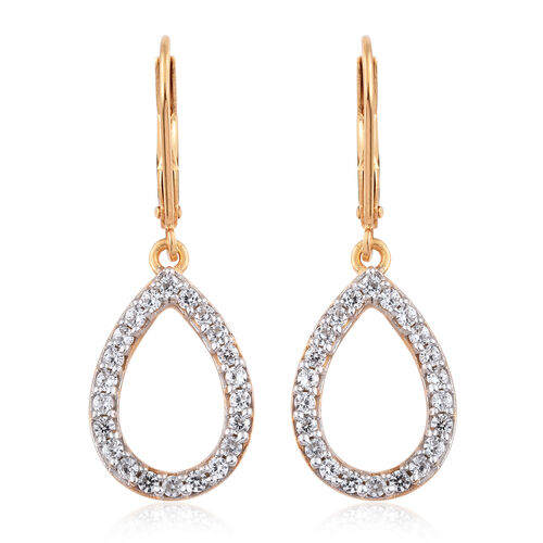 Natural Cambodian Zircon (Rnd) Lever Back Earrings in 14K Gold Overlay Sterling Silver 0.750 Ct.