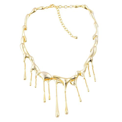 LucyQ Multi Drip Necklace (Size 17 with 3.5 inch Extender) in Yellow Gold Overlay Sterling Silver 86.34 Gms.