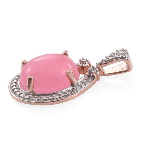 Pink Jade (Ovl), Natural Cambodian Zircon Pendant in Rose Gold Overlay Sterling Silver 6.000 Ct.