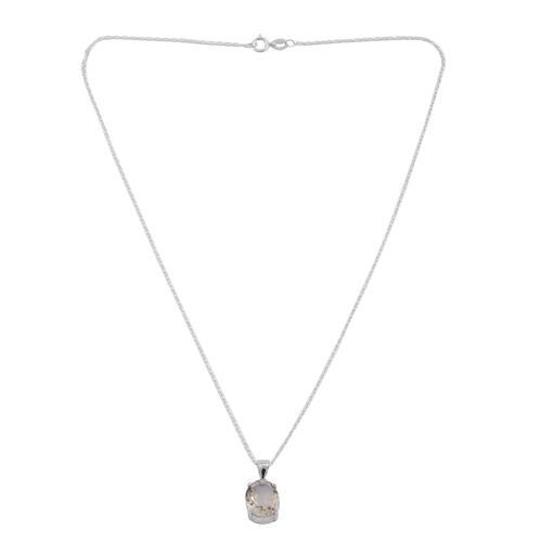 Green Amethyst (Ovl 12x10 MM) Solitaire Pendant with Chain in Sterling Silver 5.000 Ct.