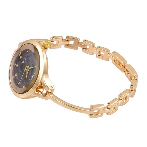 STRADA Japanese Movement Black Stardust Dial Water Resistant Watch in Gold Tone with Stainless Steel Back and Strap
