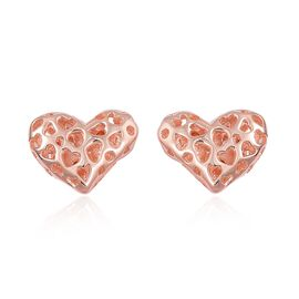 RACHEL GALLEY Rose Gold Overlay Sterling Silver Lattice Heart Stud Earrings (with Push Back)