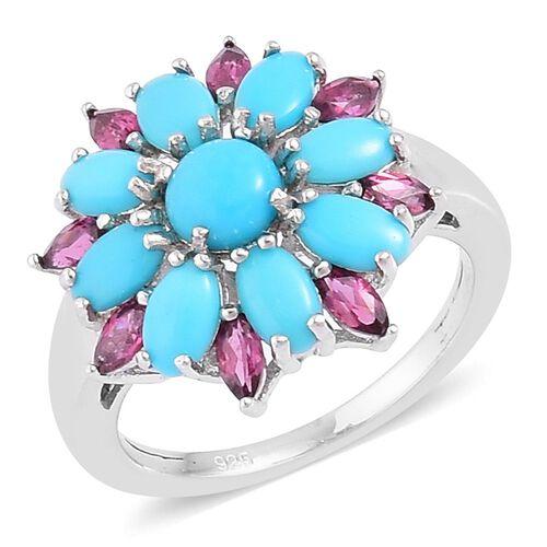 Arizona Sleeping Beauty Turquoise (Rnd), Rhodolite Garnet Floral Ring in Rhodium Plated Sterling Silver 2.450 Ct.