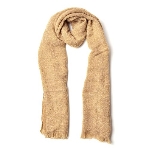 Italian Designer Inspired-Beige Colour Knitted Scarf with Fringes (Size 190X55 Cm)