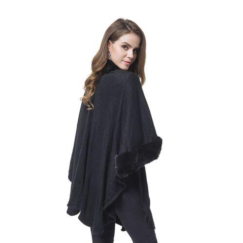 Designer Inspired - Black Faux Fur Cape (Free Size)