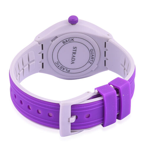 STRADA Japanese Movement Silver Sunshine Dial Purple and Grey Colour Watch with Silicone Strap