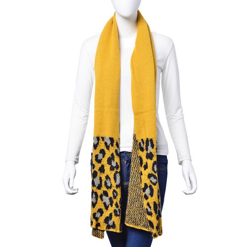 Black and Grey Colour Leopard Pattern Yellow Colour Scarf (Size 180x40 Cm)