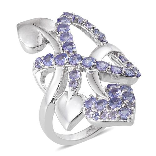 Tanzanite (Rnd) Hearts Crossover Ring in Platinum Overlay Sterling Silver 2.250 Ct.