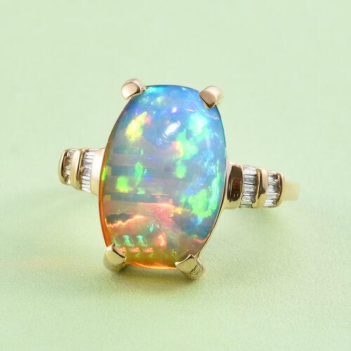 ILIANA 18K Yellow Gold Ethiopian Welo Opal (Cush 3.46 Ct), Diamond Ring 3.560 Ct.