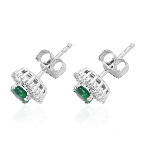 9K White Gold Premium Santa Terezinha Emerald (Rnd), Diamond Stud Earrings (with Push Back) 1.000 Ct.