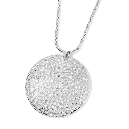 Circle Pendant with Chain (Size 28) and Hook Earrings in Silver Tone