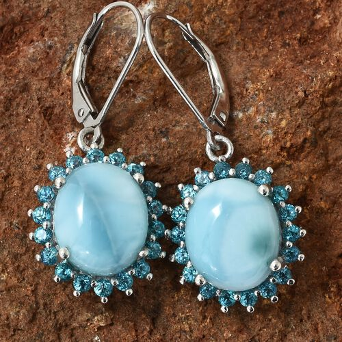 Larimar (Ovl), Signity Pariaba Topaz Lever Back Earrings in Platinum Overlay Sterling Silver 11.750 Ct.