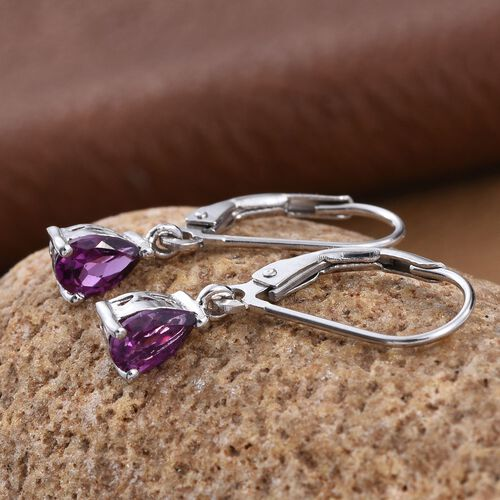 Rare Mozambique Grape Colour Garnet (Pear) Lever Back Earrings in Platinum Overlay Sterling Silver 1.000 Ct.