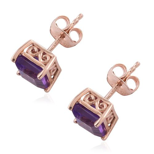 Amethyst 2 Carat Silver Solitaire Stud Earrings in Rose Gold Overlay